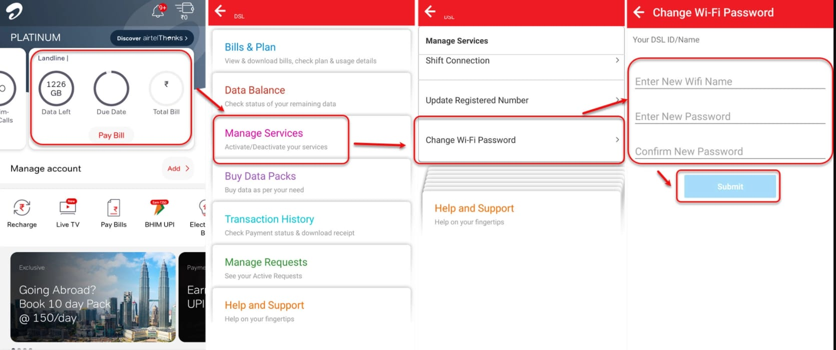 How to change Airtel WiFi password using the app?
