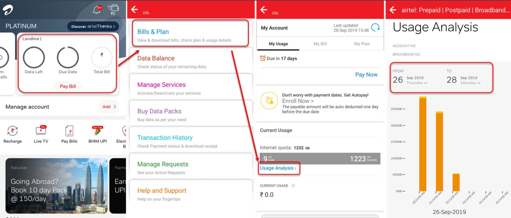 How to find Airtel broadband usage?