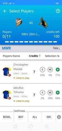 Choose and submit your whole Dream11 Fantasy Cricket team.